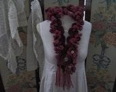 OOAK Gorgeous Wine Merino Wool and Mohair Womens Winter Scarf, Handmade Ladies Scarf, ECS, FREE Shipping