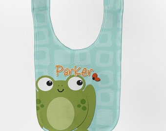 Frog Baby Bib - Personalized Aqua Infant Bibs