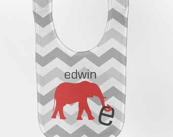 Personalized Baby Bib, Chevron Bib, Elephant Baby Boy Bib, Custom Infant Bibs