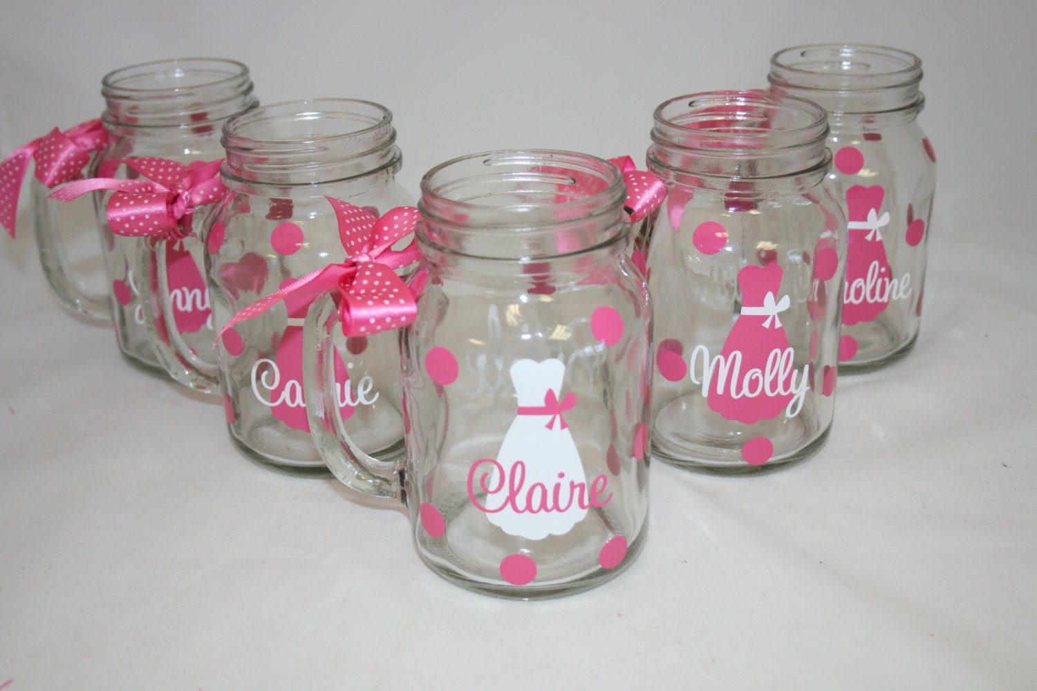 6 personalized mason jar glasses with handle bride and - Mason jar goblets ...