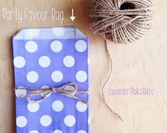 Lavender Purple Polka Dot Party Favour Bags - 5 x 7 inch Favor Gift Bag - Packet of 12