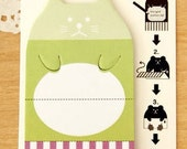 green cat - sticky Post it Note - stick marker- fusen collection
