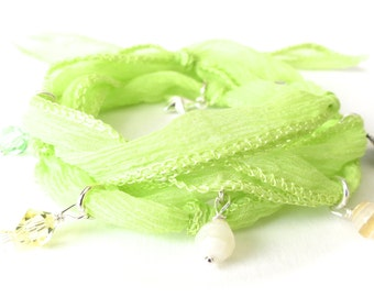Yoga charm bracelet with lime green silk, 30th birthday gift for best friend, apple green hand dyed silk ribbon bracelet, one of a kind
