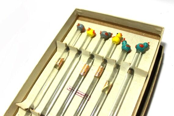 Birds swizzle sticks, Bohemia crystal glass, set of 6, grey yellow and blue birds