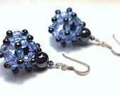 Geometrical Hematite and Sterling Silver Healing Earrings - Beaded Magnetic Gemstones - Molecule Earrings