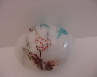 Painted Signed Marble Egg Lovely Oriental Design On Old Laquered Stand
