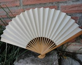 Vintage White Paper and Bamboo Fan
