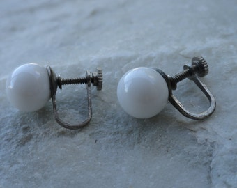 Vintage White Ball Screw On Earrings