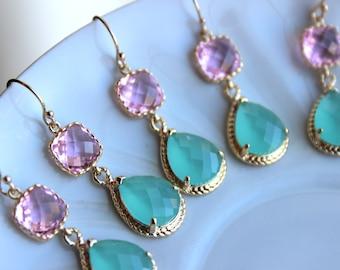 10% Off Set of 2 Blush Mint Wedding Jewelry Bridesmaid Earrings Bridal Bridesmaid Jewelry Blush Pink Mint Earrings Blue Green Gold Teardrop
