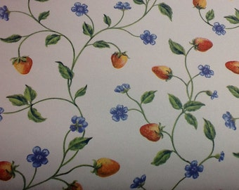 Vintage Wallpaper Red Strawberries and Blue Forget Me Nots