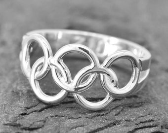 Olympic Ring, Olympic Jewelry Sterling Silver Ring, Custom Made, 2016, Engraved Ring, JubileJewel, Handmade Jewelry