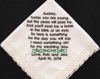 Flower Girl Wedding Handkerchief Embroidered