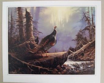 Vintage 1980's Ted Blaylock Wild Turkeys Print