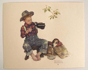 Vintage Norman Rockwell Mysterious Malady A Boy and His Dog Embossed Print