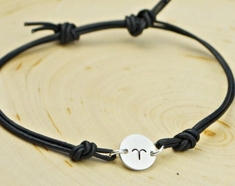 Any Zodiac Sign Leather Adjustable Bracelet- Hand Stamped Zodiac Symbol on Black or Brown Thin Leather Cord Bracelet