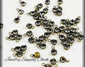 Black diamond crystal 4mm drop (x12)