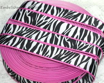 "7/8"" Hot Pink & Zebra Print Grosgrain Ribbon"