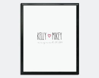 Wedding Guest Book Poster PDF - Handwritten Heart - Personalized Printable
