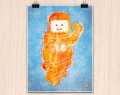 "Lego 9x12"" Hello Spaceboy in Orange on Blue (Color Print)"