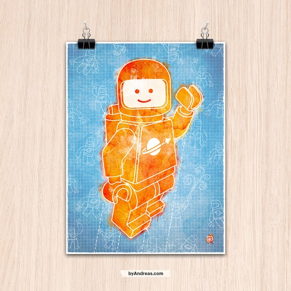"Lego 9x12"" Hello Spaceboy in Orange on Blue (Color Print)"