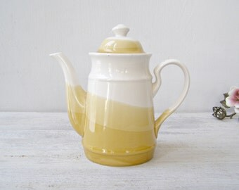 Ceramic Stripes Teapot, Yellow Pastel Teapot, Classic 70s Kitchenware, Collectible Pottery French Country Decor, Interior Design 2016 Trends