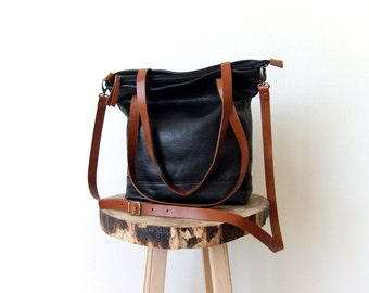 Leather Tote Bag in Black -  Light Brown Leather Handles - Adjustable Detachable Leather Strap - Zipper Closure