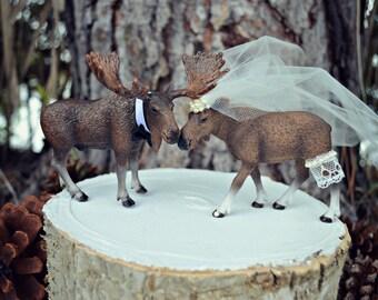 Moose wedding cake topper-Alaskan Moose-Moose cake topper-Rustic Cake topper-Hunting cake topper
