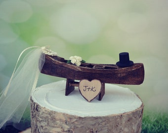 Canoe-boat-wedding-cake topper-rustic-fishing-woodland-fisherman-row boat-bride-groom-Mr and Mrs-country-hunting-camo-custom-ivory veil