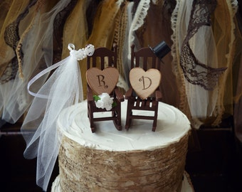 Rocking chair-cake topper-rustic-shabby-woodlands-Mr.and Mrs-country-wedding cake topper-wedding-country-bride and groom-chairs-just married