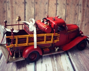 Fire fighter wedding-fire fighter-card sign-wedding trunk-wedding card holder-sign-wedding card holder-wood wedding trunk-Fireman