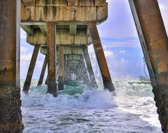 Deerfield Beach HDR Pier Florida Seascape Photography At Checkout, Choose Lustre Print or Gallery Wrapped Canvas