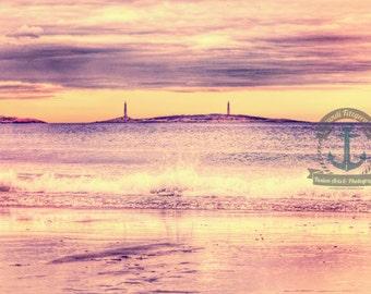 Twin Lights Purple Lighthouse Island Seascape