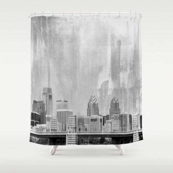 Curtains Ideas cityscape shower curtain : Shower Curtain: Philadelphia Skyline 12 Eyelet/Button Hole