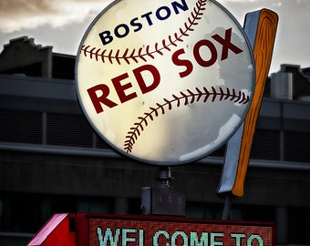 Fenway Park, Spinning Baseball and Bat Sign, Boston Red Sox, 8x12, 11x17, 13x19, 16x24 photo, sports, baseball, man cave