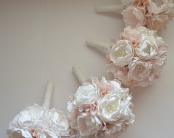 Fabric Bouquet - Medium Size  - Pale Champagne, Pale Dusty Pink, Pale Pink and Cream - Fabric Flower Bouquets - Bridesmaids Bouquet