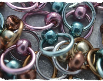"Ringlets ""Galvanized"" stitch markers, ring markers, knitting markers, snag free, dangle free"