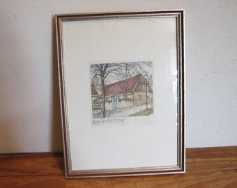 Vintage Music Print German hand colored Etching with music score