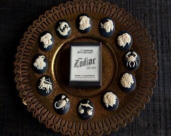Zodiac Lip Balm Locket Necklace - Victorian Gold Brass Astrology- Choose Your Flavor- Vanilla Strawberry Mint Peach