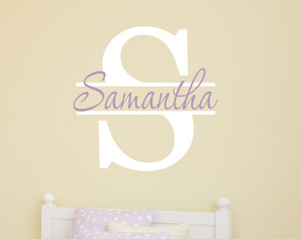 Custom Girls Name With Monogram Wall Decal // Girls Name Decal //  Custom Monogram //  Personalized Name // Girls Bedroom // Girls Decor
