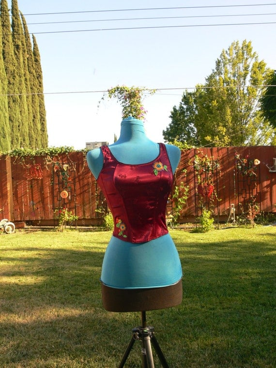 BeBe red boned corset top  size large bust 36