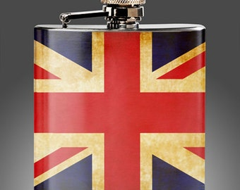 Great Britain Union Jack Flask - Whiskey Flasks - , Wedding  Flasks, Party Gifts, Groomsman , Stainless Steel 6 oz Liquor Hip Flask