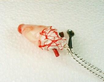 Screwball Icecream Pendant. Raspberry Ripple.  Polymer clay.