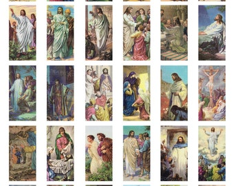 "Vintage Jesus Digital Collage Sheet Religious Dominoes 1"" x 2"" INSTANT DOWNLOAD Printable Images Bible Story DC-005"