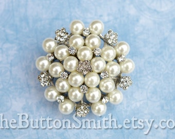 Rhinestone and Pearl Brooch Component /Embellishment (5.0cm) BR-025 - 1 piece