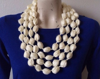 Bubble Loop Scarf Necklace In Off White