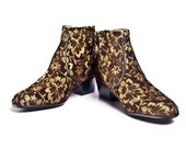 Florwered gold and brown Tapestry beatle boots  - FREE SHIPPING