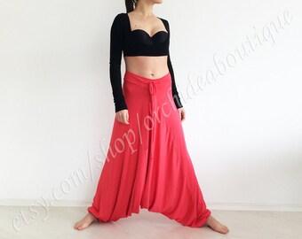 ALADDIN Coral jersey harem yoga comfortable baggy sweat pants plus size boho sarouel loose hippie gypsy