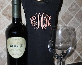 Monogram wine bag-wine tote-spirit bag, wine bag- insulated wine tote-Script Monogram