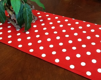 Table Runner - Red and White Polka Dot Table Runner Minnie Mouse Table Runners Price Reflects Discount - Select A Size