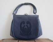 Comtesse / 60s Bag / Mad Men Purse / Western Germany / Blue Leather Bag / Ladylike / Handbag / Jackie Kennedy / Retro / Rare / Collectible